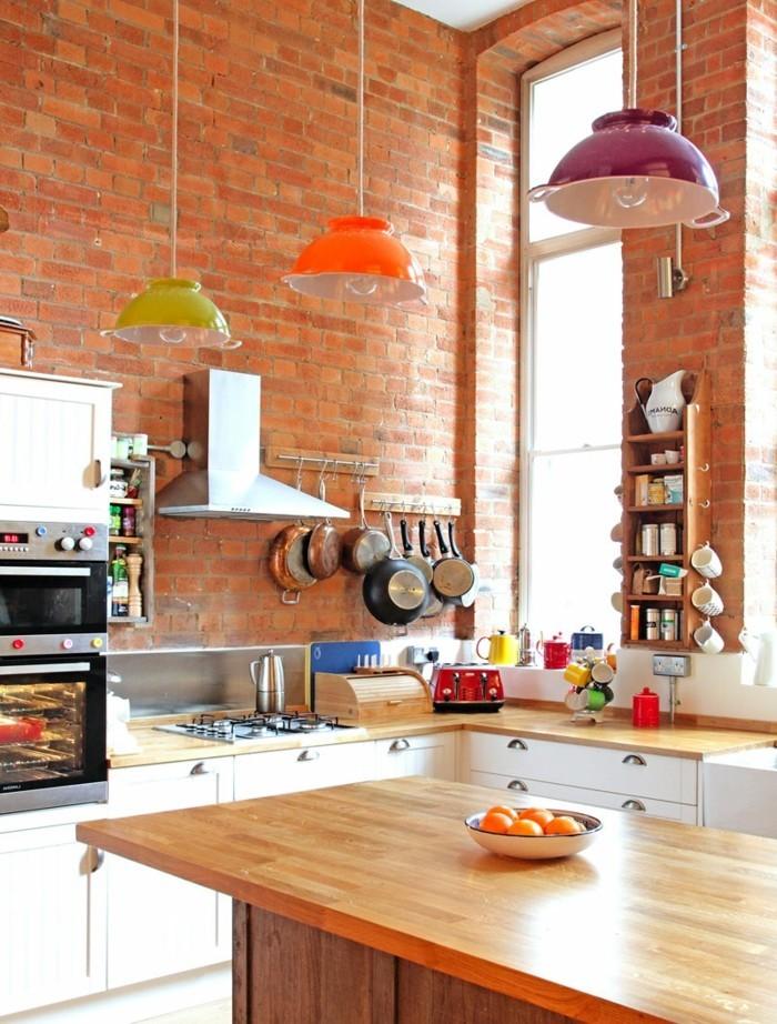 wohnideen küche wandgestaltung ideen mit backstein