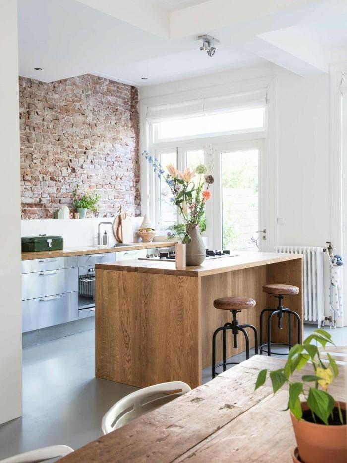 wohnideen küche weißes ambiente mit akzentwand
