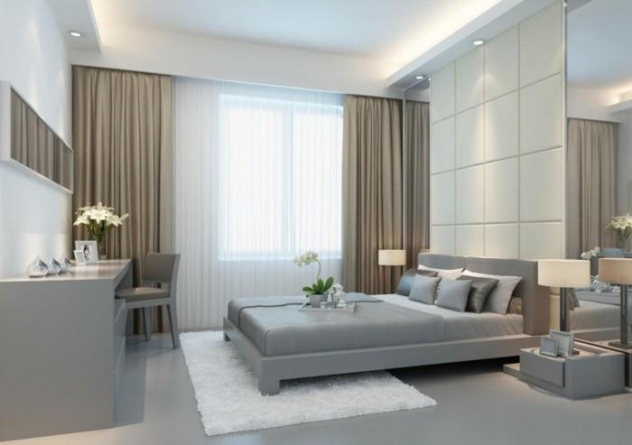 wohnideen schlafzimmer einfarbige gardinen mit einem passenden teppich kombinieren