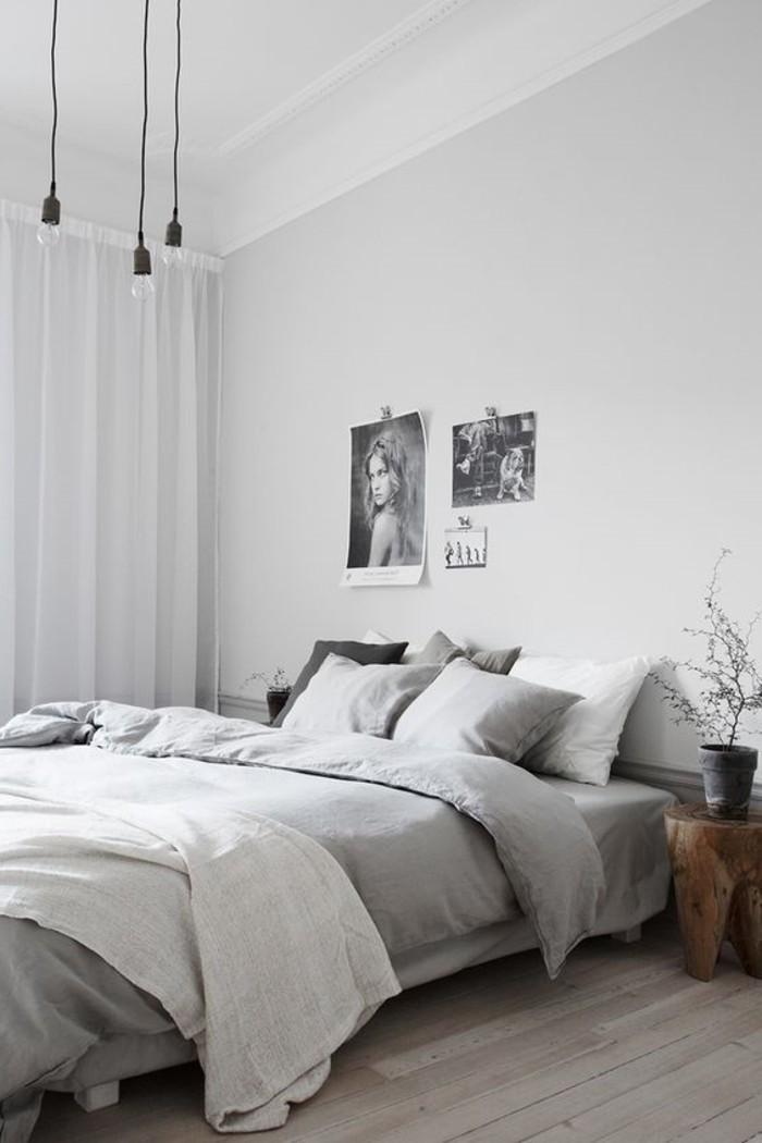 wohnideen schlafzimmer helle gardinen und hölzerner bodenbelag