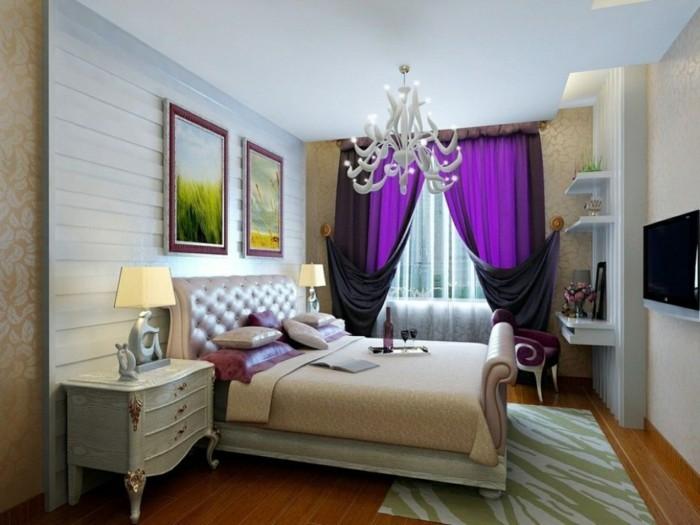wohnideen schlafzimmer lila gardinen sind ein toller akzent