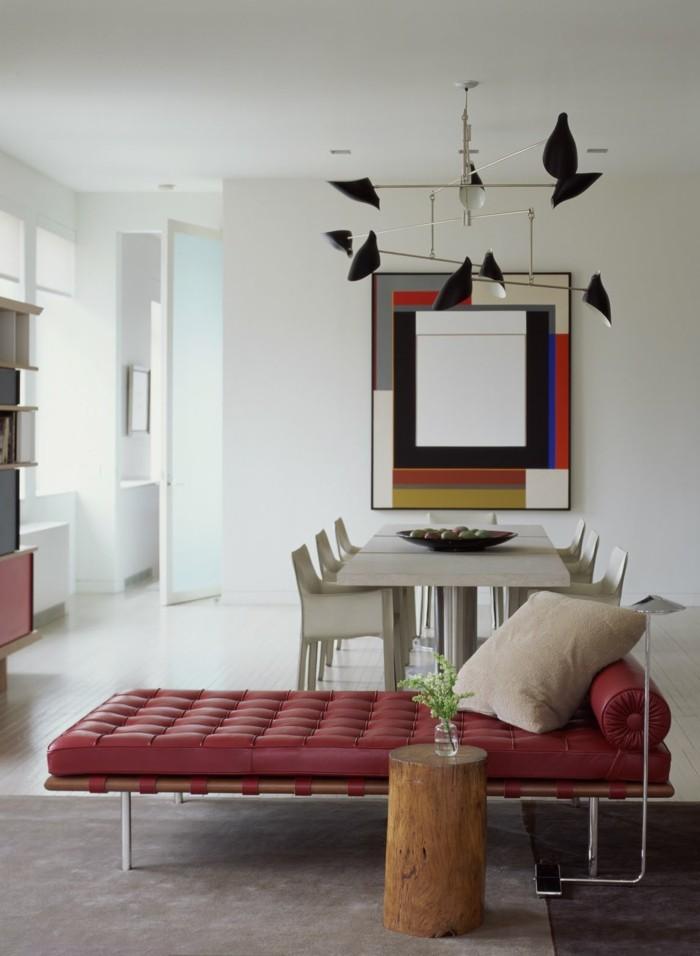 wohnideen wohnzimmer moderne einrichtung mit rotem liegesessel