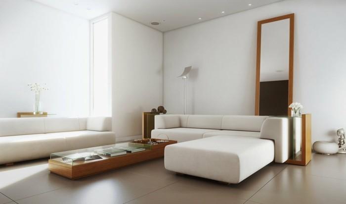 wohnzimmer einrichtung in neutralen farben und hellem holz