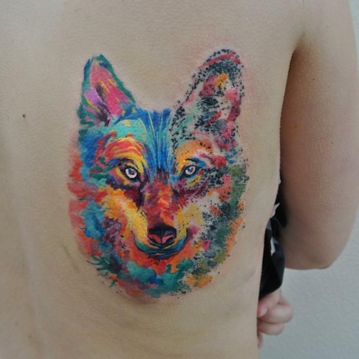 wolf tattoo bunt watercolor tätowierung