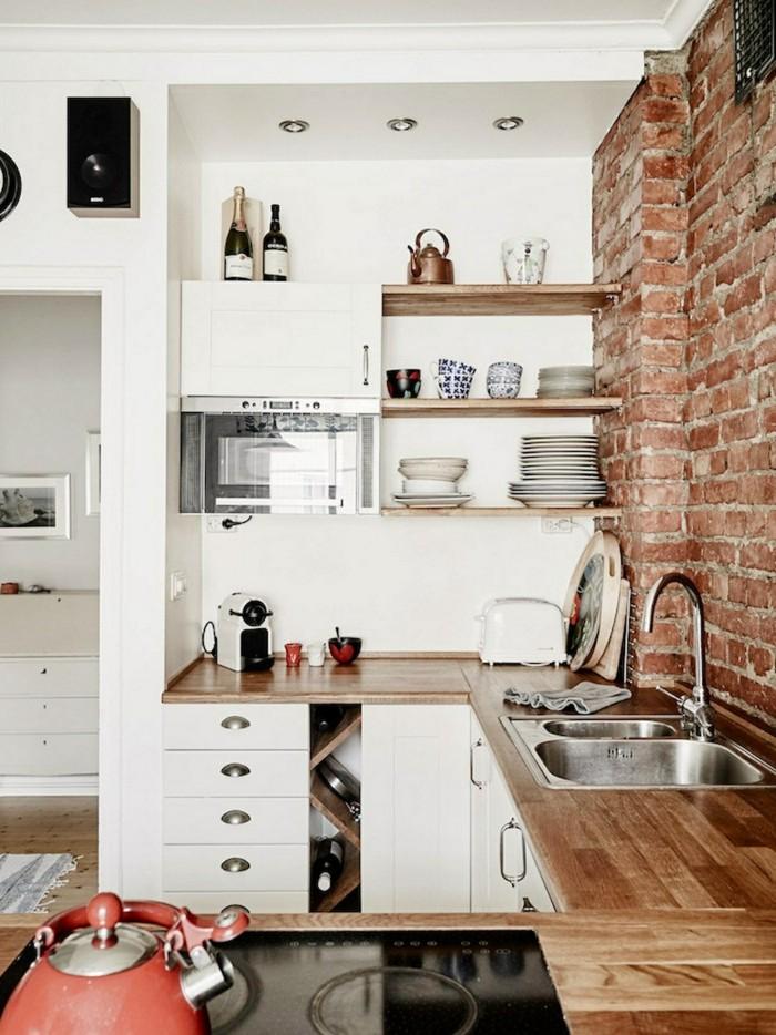 ziegelwand in der küche erfrischt die weiße küche