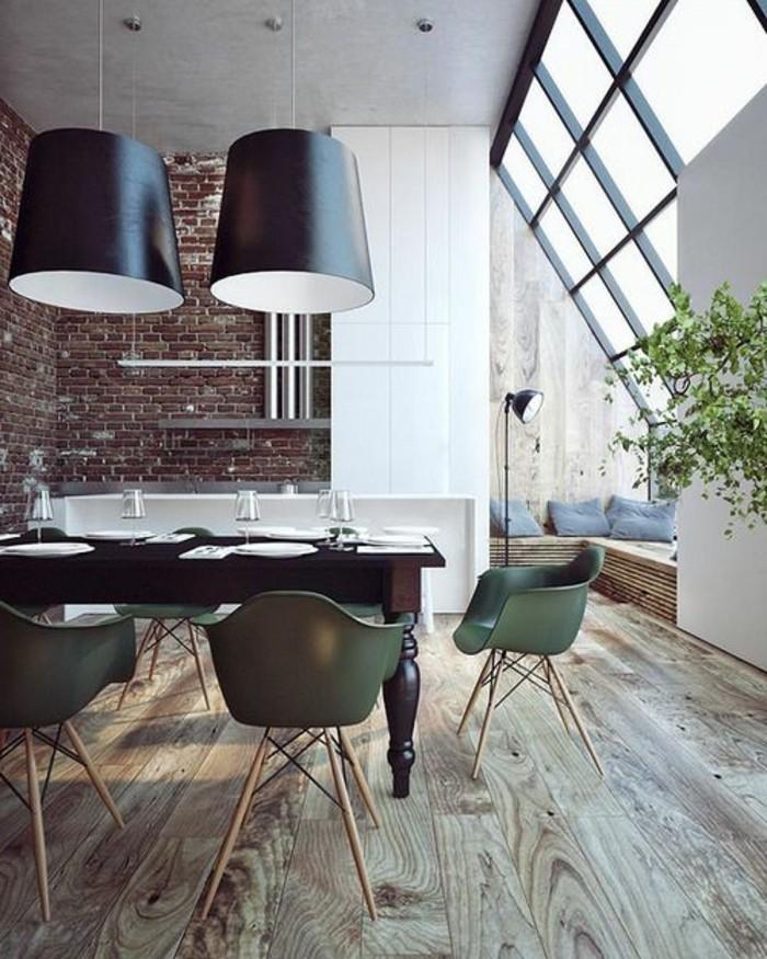 ziegelwand in der modernen küche und schöner bodenbelag
