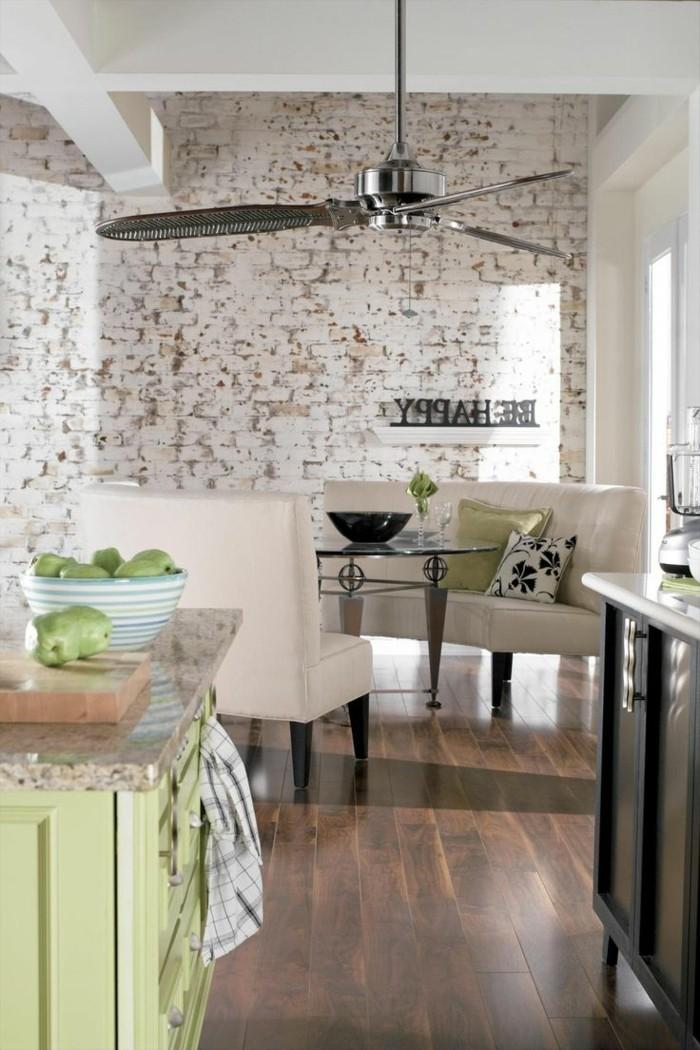 ziegelwand schöne wandgestaltung ideen für die moderne küche