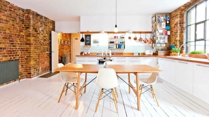 wanddekoration ideen die moderne kunst als akzent, ziegelwand - 55 ideen, wie sie die moderne küche aufwerten, Design ideen