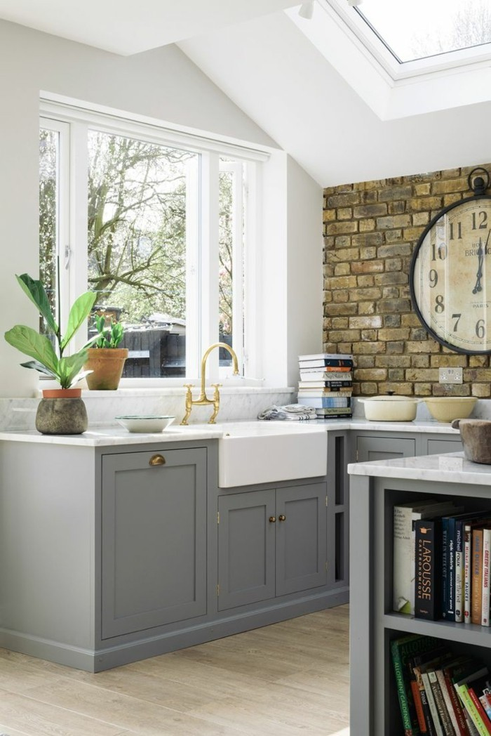 Ziegelwand Vintage Akzente In Der Modernen Küche