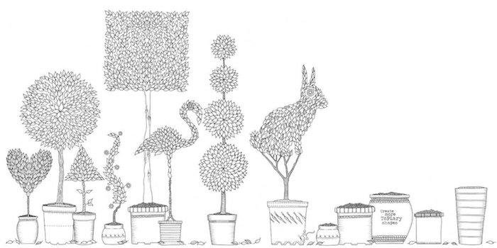 Malvorlage mit Töpfen mit Tieren und Pflanzen