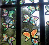 Fensterbilder basteln- 64 DIY Ideen für stimmungsvolle Herbstdekoration