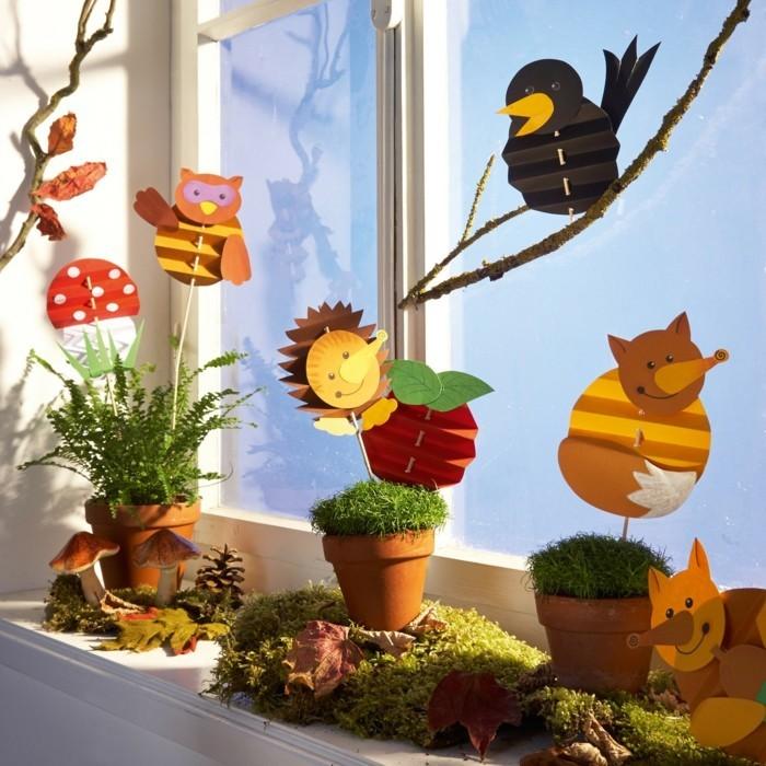 Fensterbilder basteln mit kindern eulen