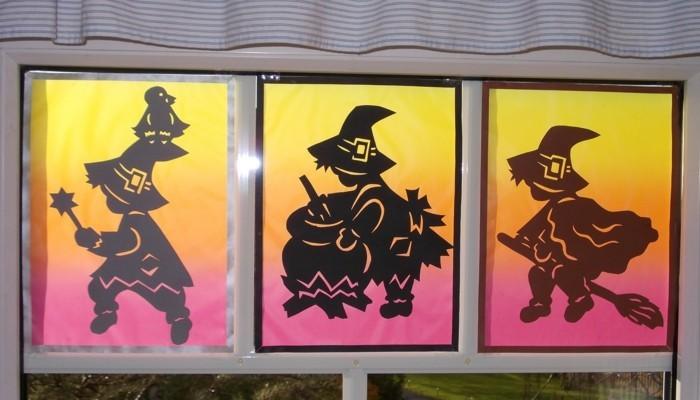 Fensterbilder basteln mit kindern halloween deko