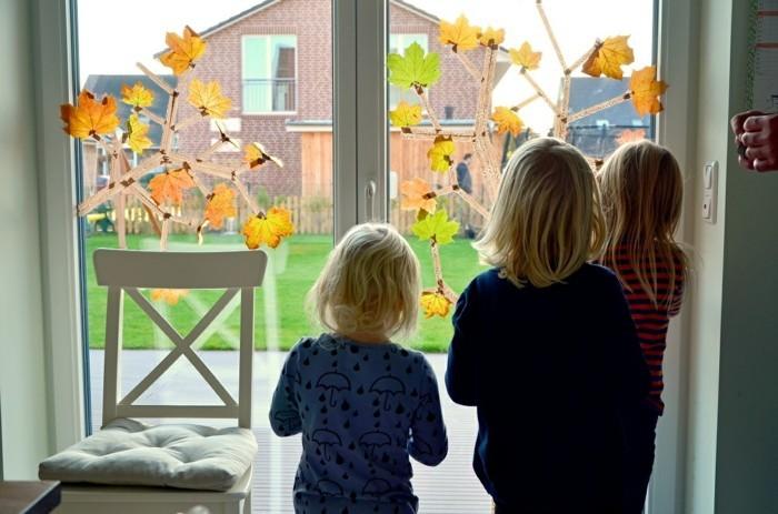 Fensterbilder basteln mit kindern herbststimmung