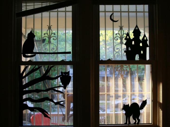 Fensterbilder basteln mit kindern regen scherenschnitt