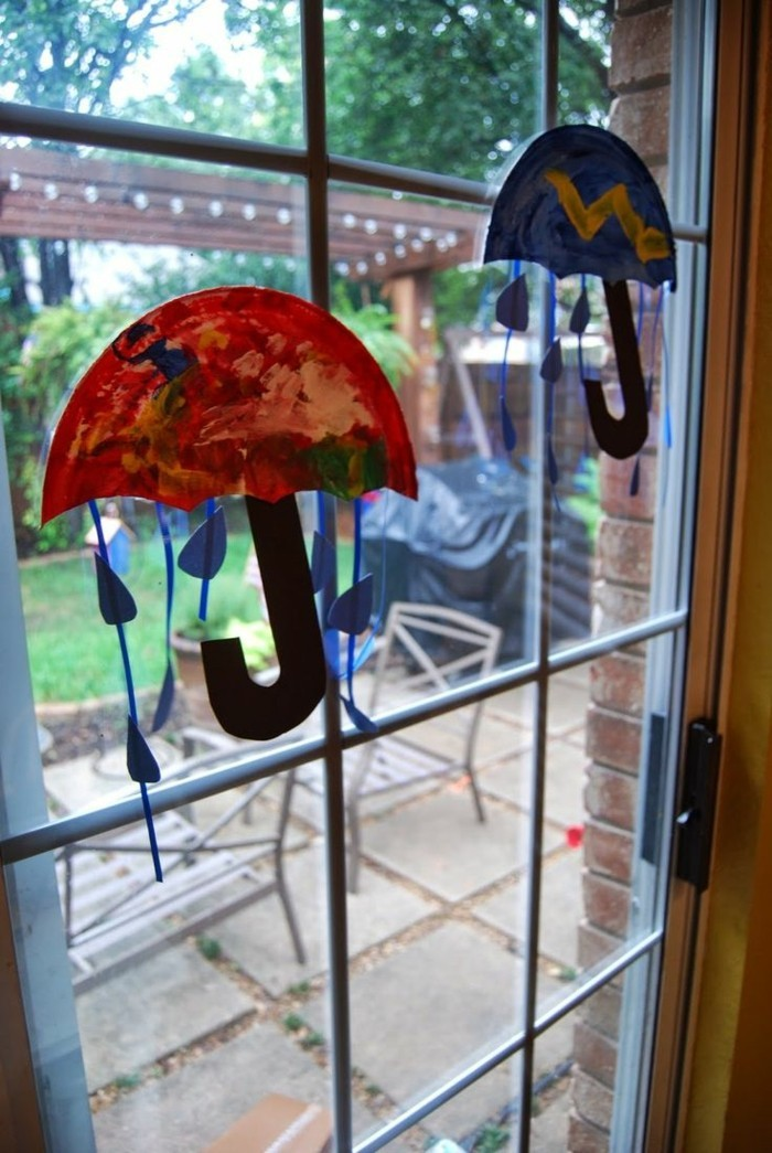 Fensterbilder basteln mit kindern regen
