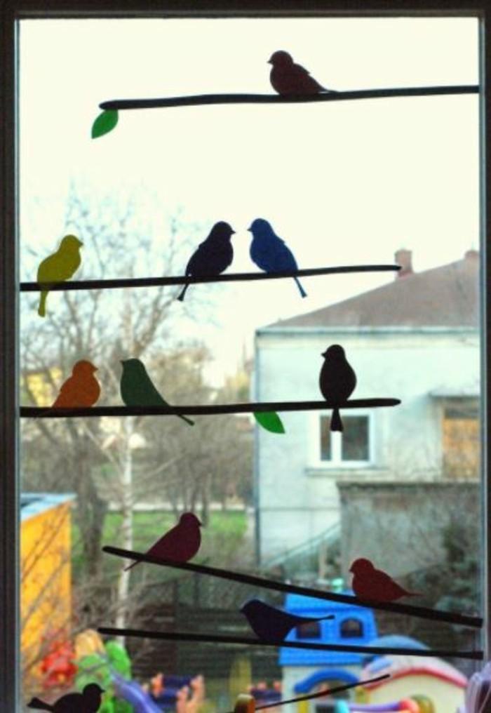 Fensterbilder basteln mit kindern vogel