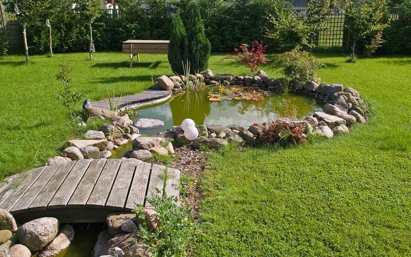 Gartenarbeit im Herbst Gartenteich Frische im Outdoor-Bereich