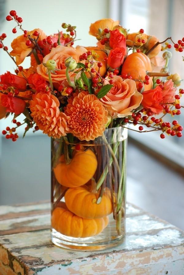 Herbstblumen Kürbisse Herbstdeko
