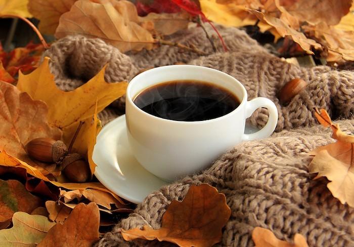 Herbstdeko Wärme Behaglichkeit Tasse Kaffee