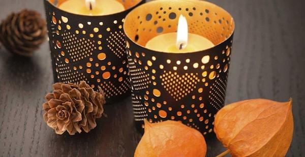 Herbstdeko mit Kerzen