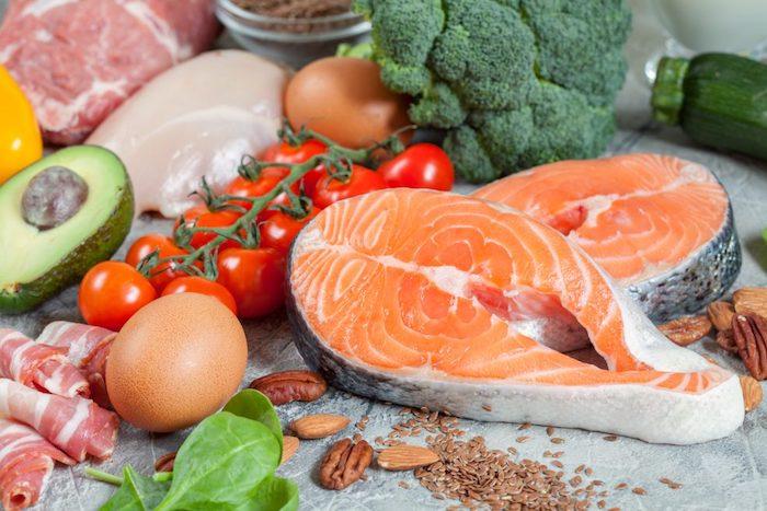 Low- Carb Produkte Fisch Geflügel Eier Gemüse Nüsse