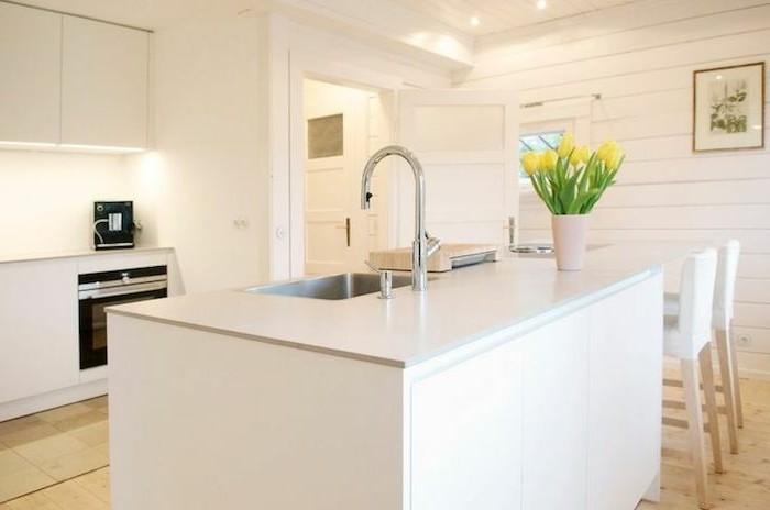 arbeitsplatte küche in weiß freistehnde kücheninsel