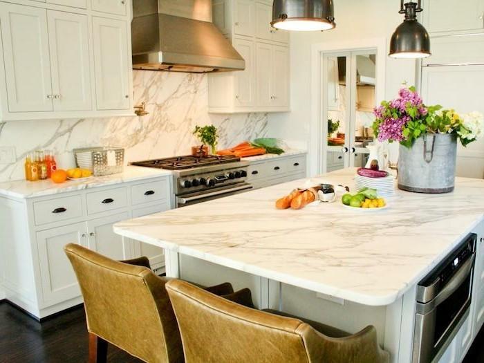 arbeitsplatte küche marmor schickes aussehen