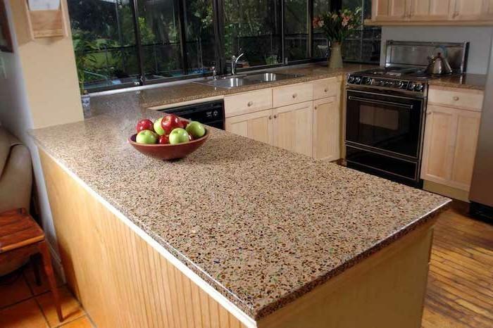 arbeitsplatte küche schöne optik kücheninsel aus holz
