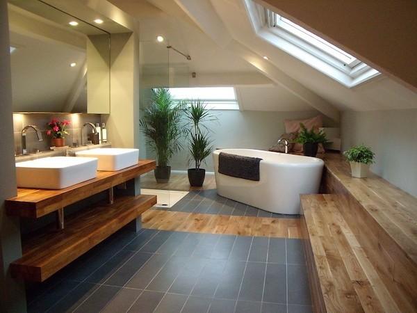 badezimmer dachschräge holz