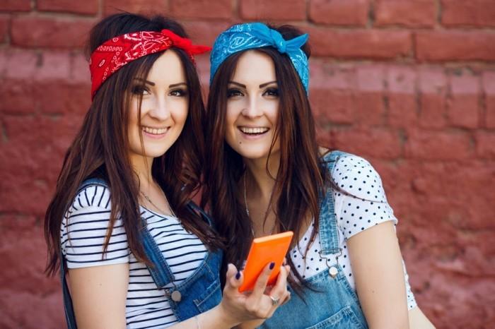 bandana binden rot und blau