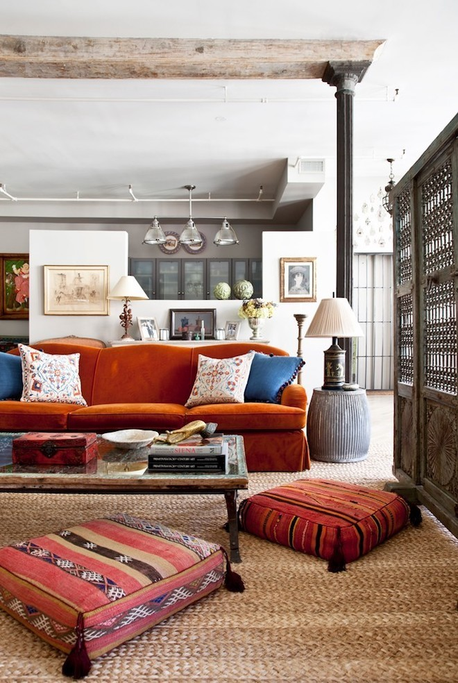 bodenkissen ethno style sisalteppich wohnzimmer ideen