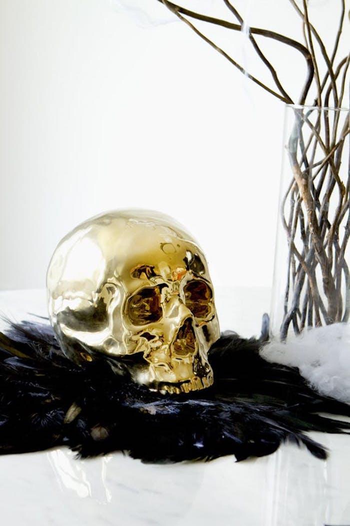 halloween bastelideen goldener schädel