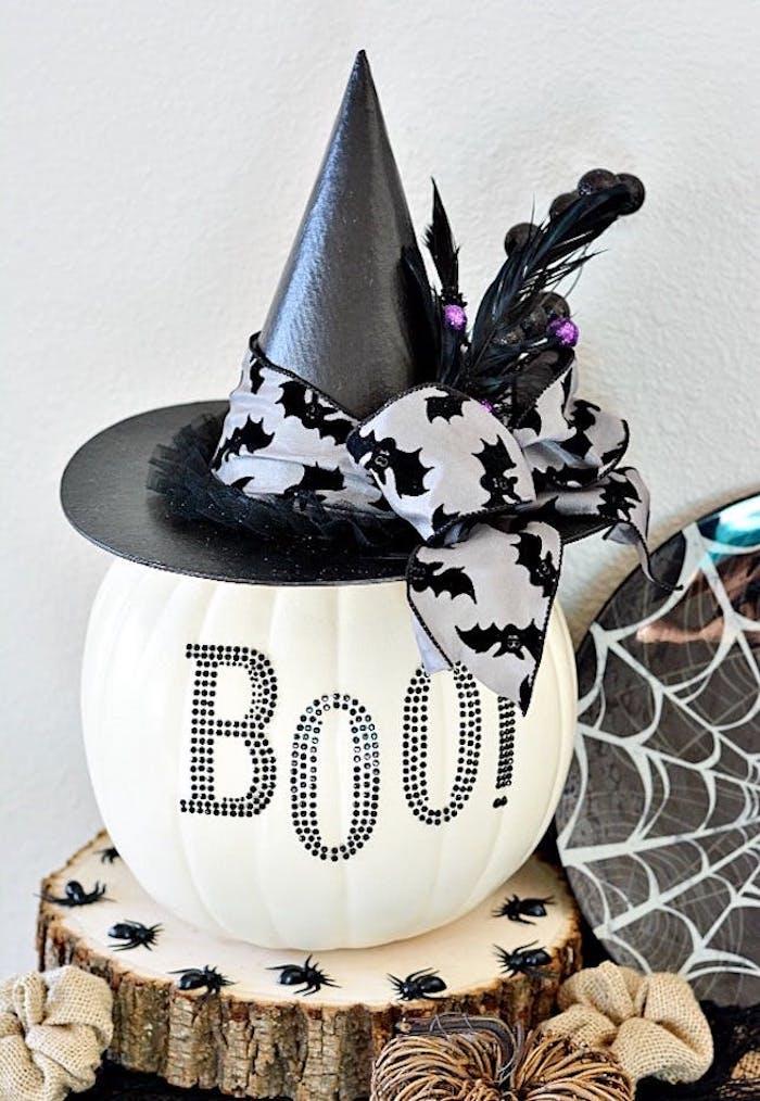 halloween bastelideen hexenhut und kürbis