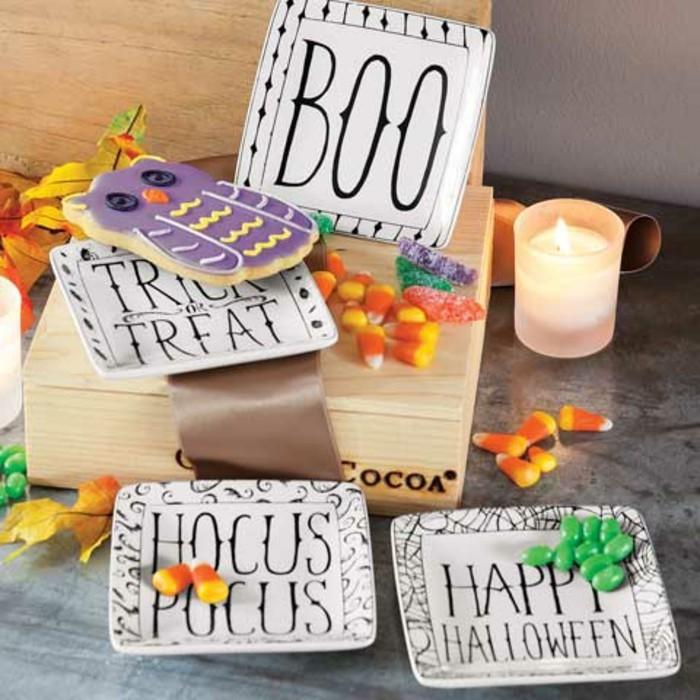 halloween deko den tisch festlich dekorieren