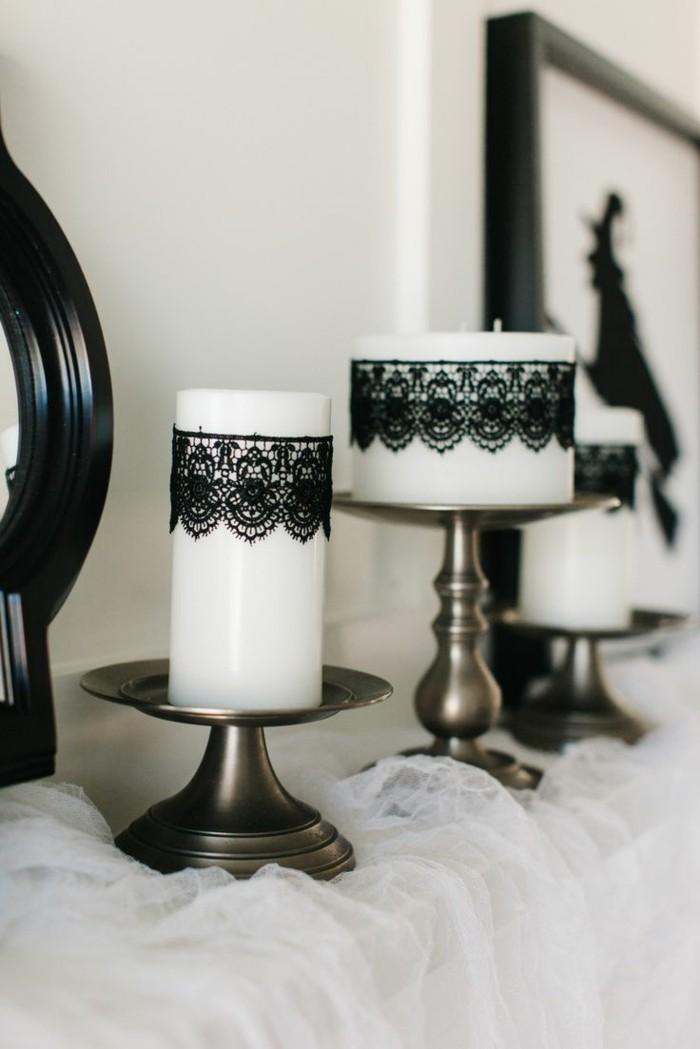 halloween deko ideen in schwarz und weiß
