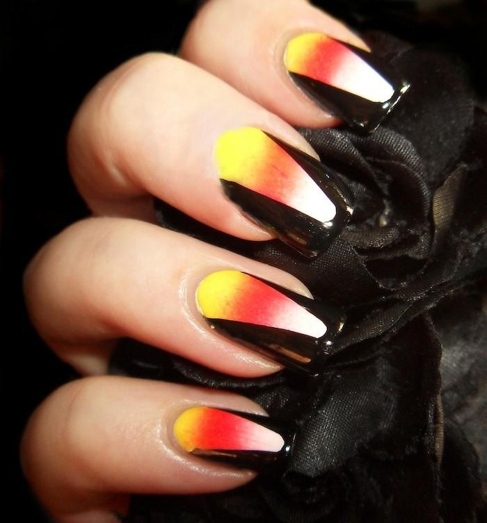 halloween ideen für die maniküre frische farbkombination