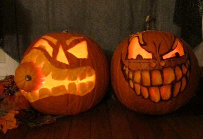 halloween kürbis schnitzvorlageböse kürbislaterne basteln 2er