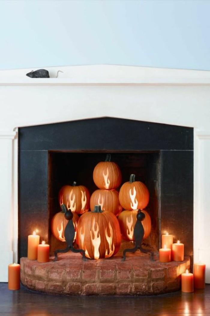 halloween kürbis schnitzvorlageböse kürbislaterne basteln kamin gestalten halloween