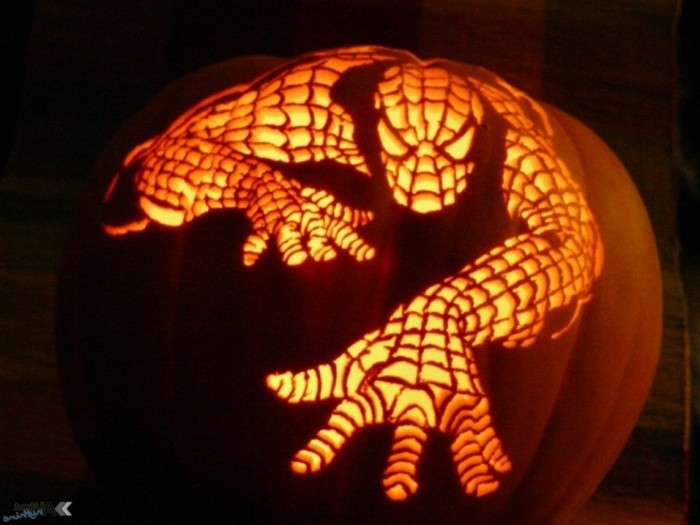 halloween kürbis schnitzvorlageböse kürbislaterne basteln spiderman