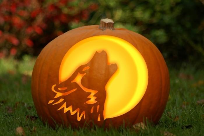 halloween kürbis schnitzvorlageböse kürbislaterne basteln wolf vollmond