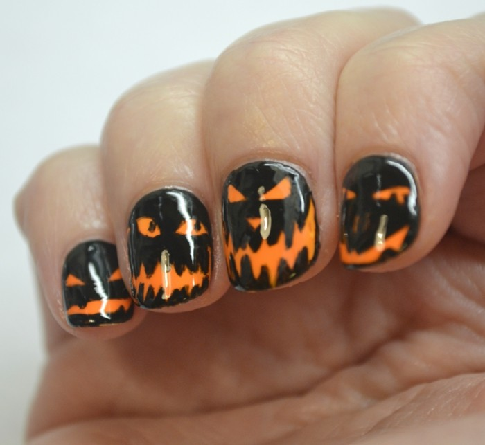 halloween nägel gruselige kürbisgesichter