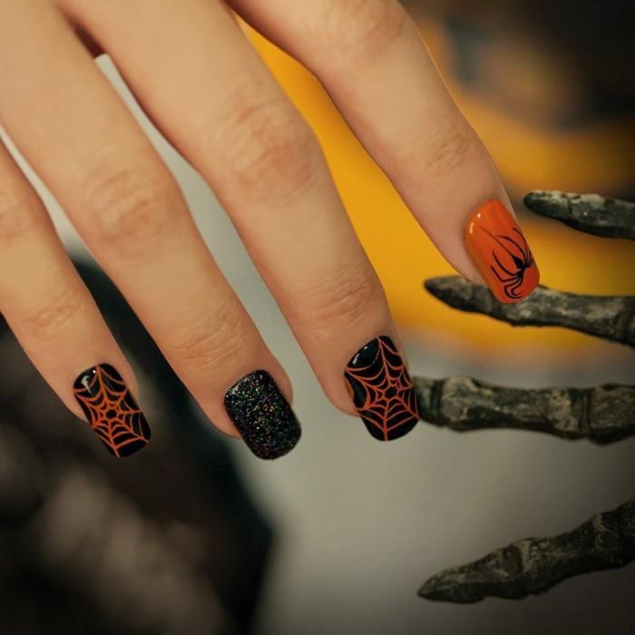 halloween nägel originelle einfälle in dunklen farben