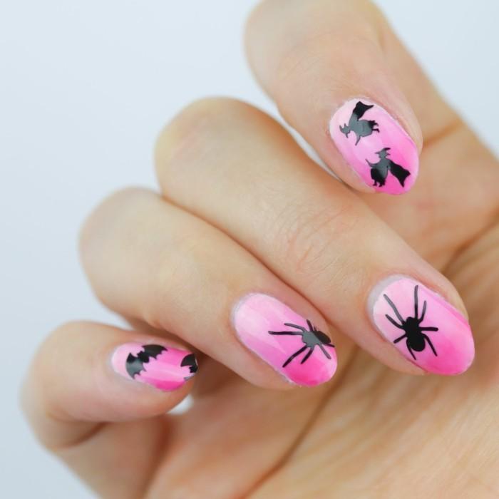 halloween nägel rote nägel mit schwarzen fledermäusen