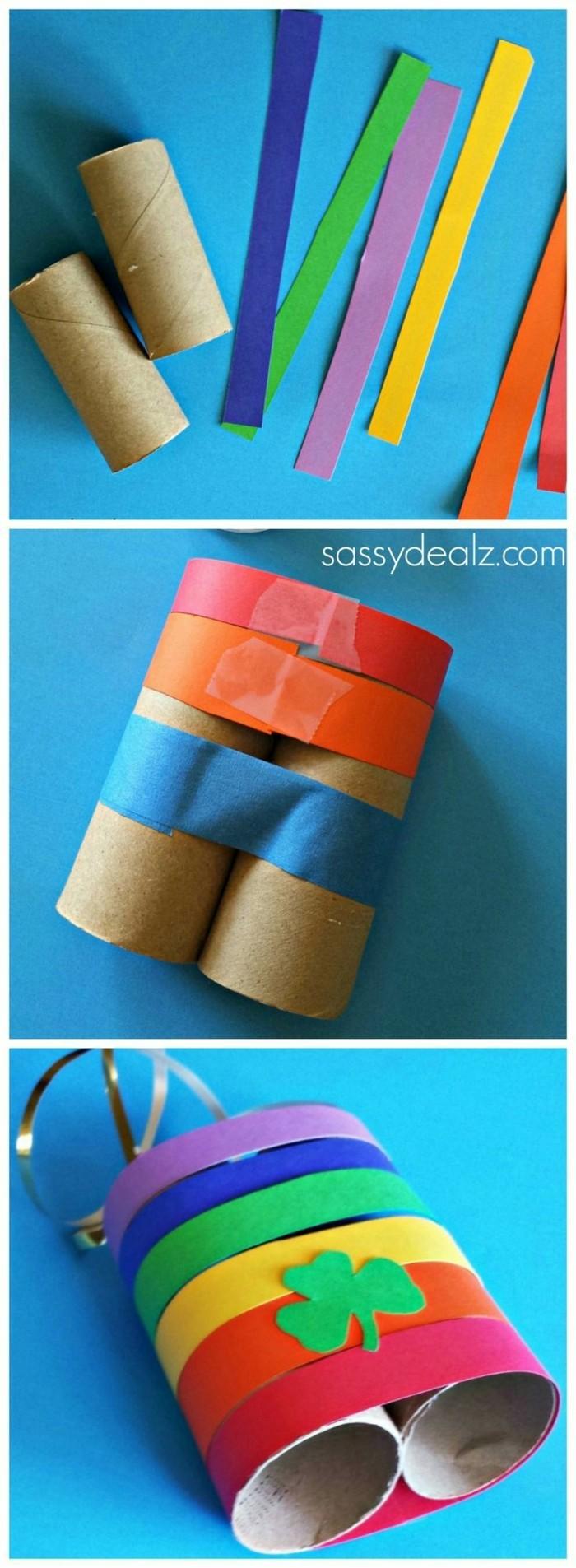 herbstbasteln mit kindern herbstdeko selber machen basteln mit klopapierrollen fernglas