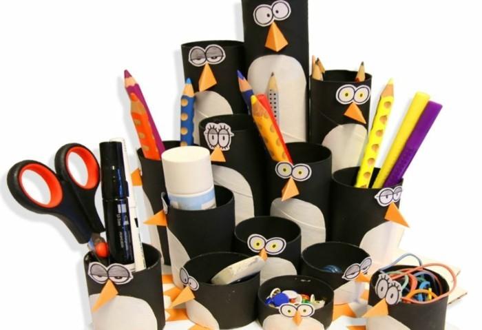herbstbasteln mit kindern herbstdeko selber machen basteln mit klopapierrollen pinguine