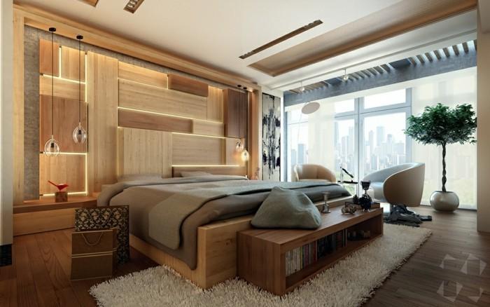 Holzwand Holzverkeidung Schlafzimmer Ideen Eingebaute Leuchten