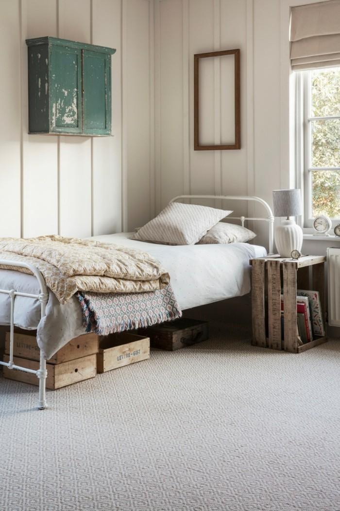 ideen zu wollteppich im schlafzimmer beige kombination mit rustikalen elementen