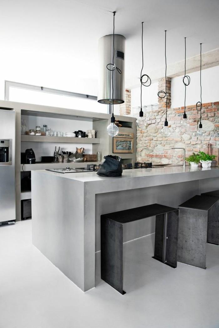 küche einrichten beton kücheninsel und metallic elemente