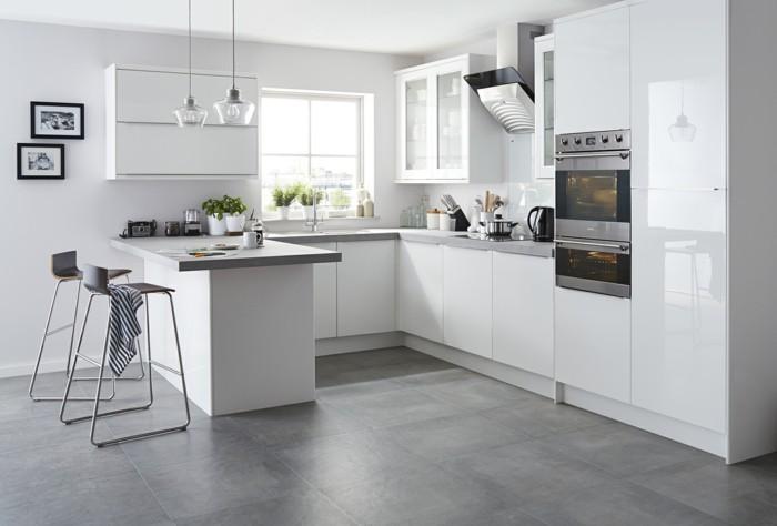 küche einrichten bodengestaltung mit betonoptik